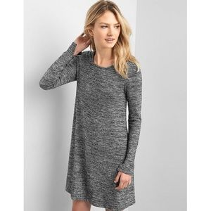 Gap Softspun Long Sleeve Swing Dress Grey Stripe M